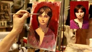 Пример этюда - Обучение живописи. Масло. Портрет, 3 серия