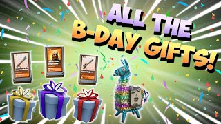 AMAZING YEAR 2 BIRTHDAY LLAMA OPENING! 45 B-day Llamas And Tons Of Gifts | Fortnite Save The World