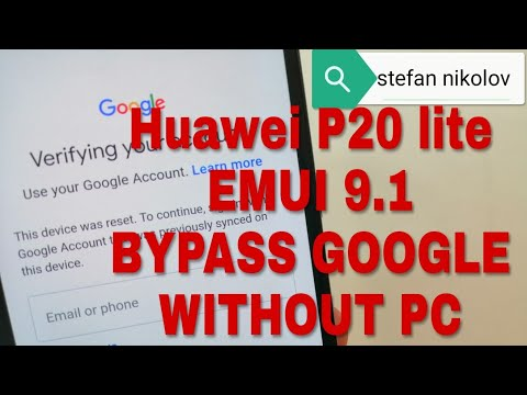 EMUI 9.1!!! Huawei P20 lite ANE-LX1.Remove Google account bypass frp.
