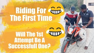Making My Friends Learn, To Ride The KTM Duke 200 || So Much Mistakes 😪😪😪