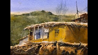 How to paint village in watercolor painting demo by javid tabatabaei