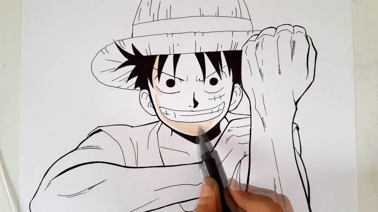 How to draw Luffy from One piece - YouTube