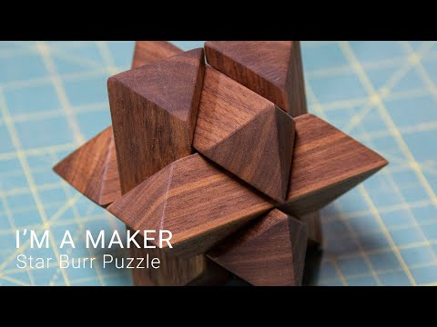 "Walnut 6 Piece ""Star Burr Puzzle"" from scrap 