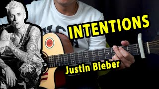 Intentions - Justin Bieber ft Quavo Beginner Guitar Tutorial Chords