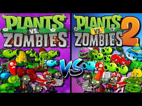 Plants Vs Zombies Plants From PvZ 1 Vs Plants From PvZ 2 Gameplay Plantas Contra Zombies
