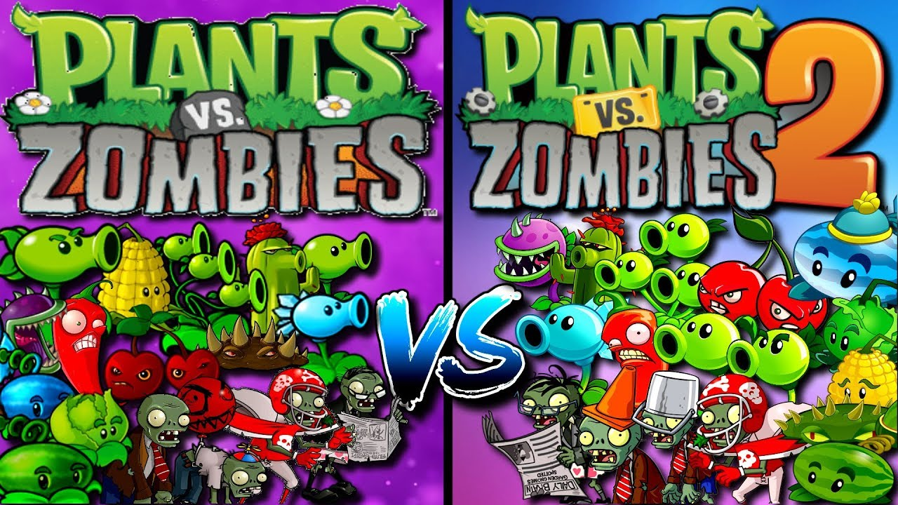 Plants vs Zombies Plants from PvZ 1 vs Plants from PvZ 2 Gameplay Plantas contra Zombies - YouTube
