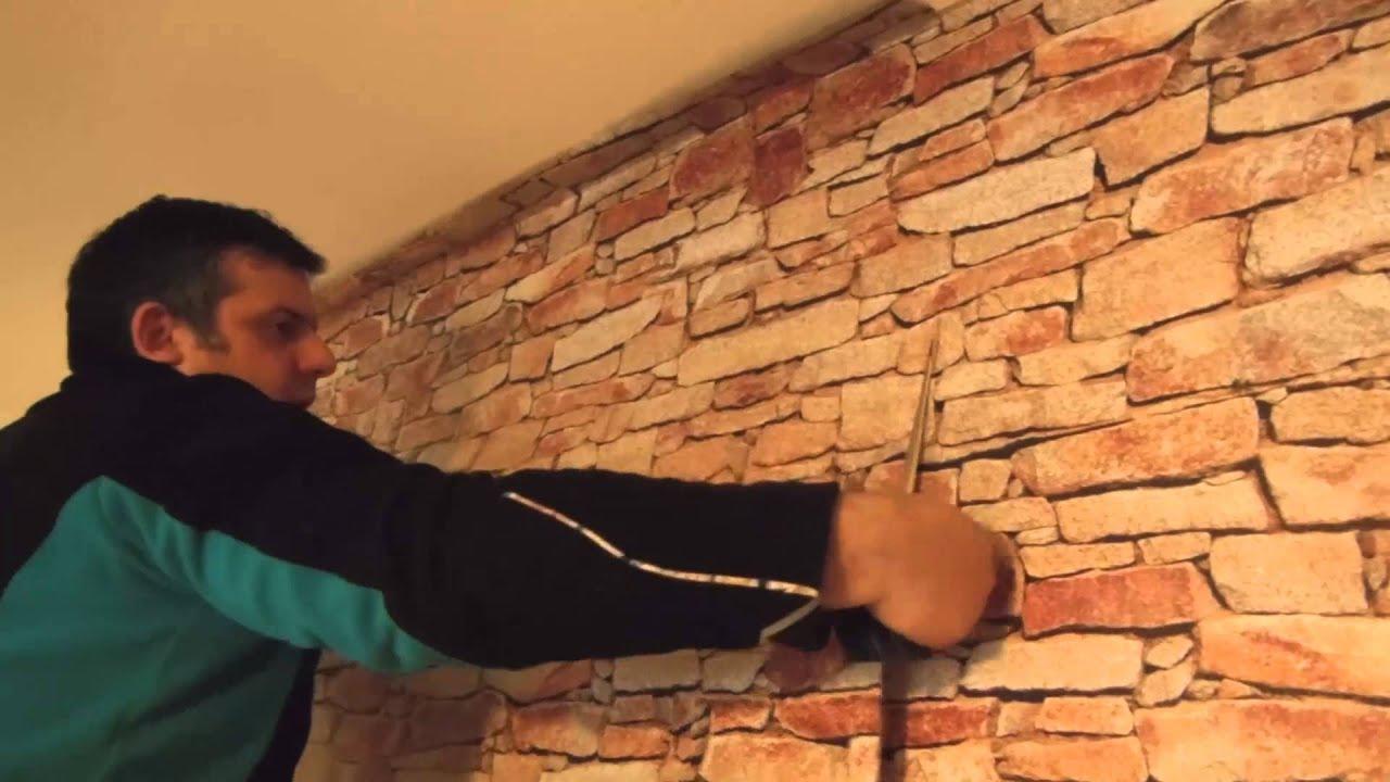 Carta parati adesiva grigio chiaro adesivi carta per mobili carta da parati. Adesivi Murali Come Applicare Un Muro In Pietra Adesivo Sulle Tue Pareti Youtube