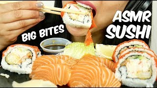 ASMR SASHIMI + SUSHI ROLL (Eating Sounds) *BIG BITES NO TALKING | SAS-ASMR