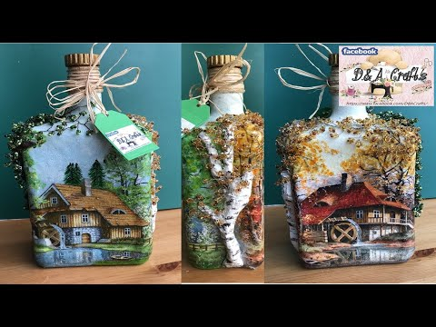 DIY: How to make seasons decoration on whiskey bottle TUTORIAL