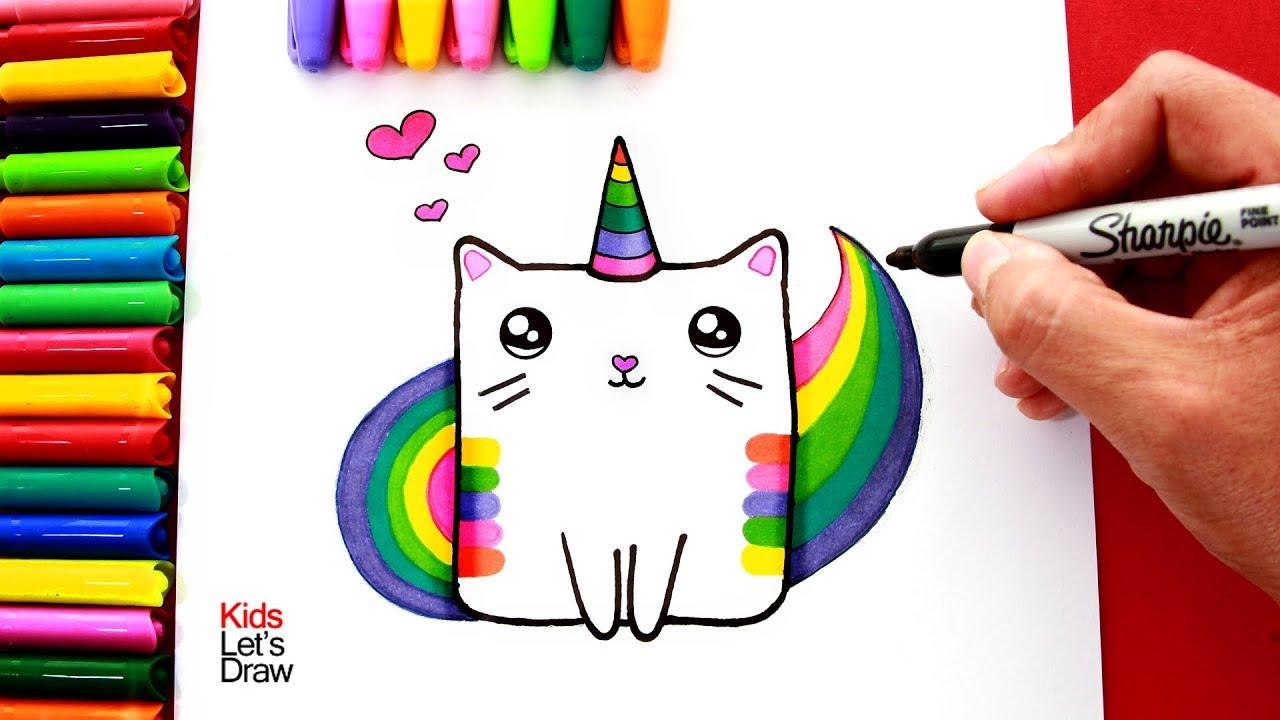 Aprende A Dibujar Un Gato Unicornio Arcoiris Colorin How To