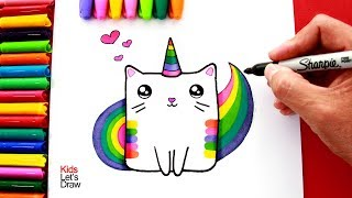 Aprende a dibujar un GATO UNICORNIO Arcoiris (Colorín) | How to draw a Rainbow Caticorn