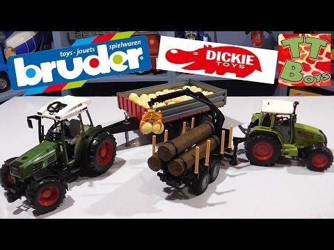 ✔ Bruder & Dickie Toys. Сравнения Машинок – Трактор с прицепом от Игорька / Cars for boys ✔