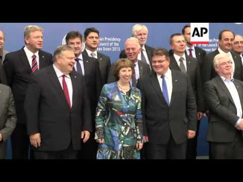 EU foreign ministers pose for group photo in the Lithuanian capital Vilnius