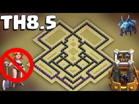 Clash of Clans - Town Hall 8.5 War Base New Update *BOMB TOWER* TH9 war base without X-BOWS 2016