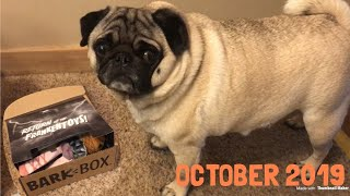 Charlie the Pug Dog Opens His October BarkBox!