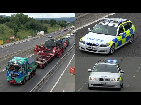 Wide load police escort of 235 tonne generator on motorway