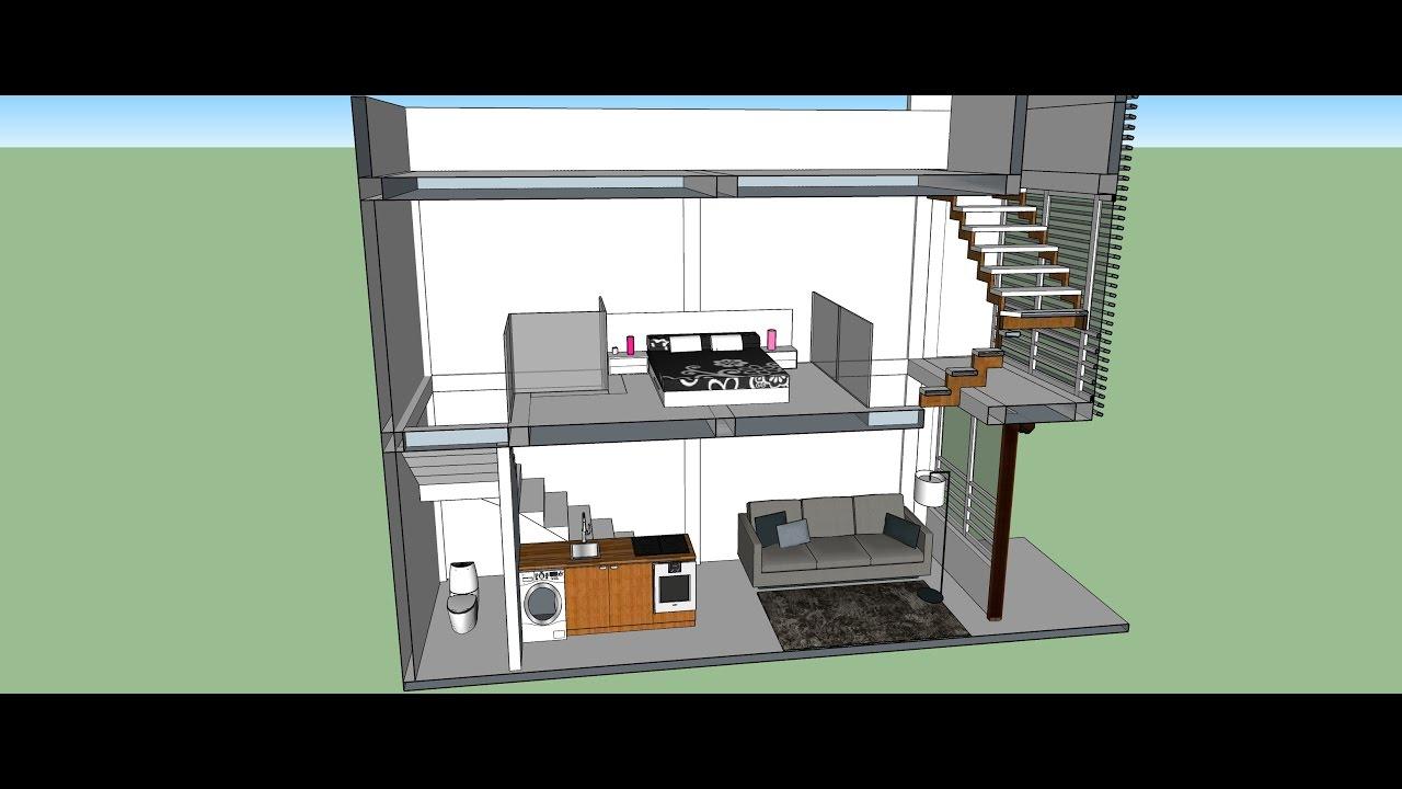 Sketchup dise o espacios peque os aparta estudio con for Disenos de apartaestudios pequenos
