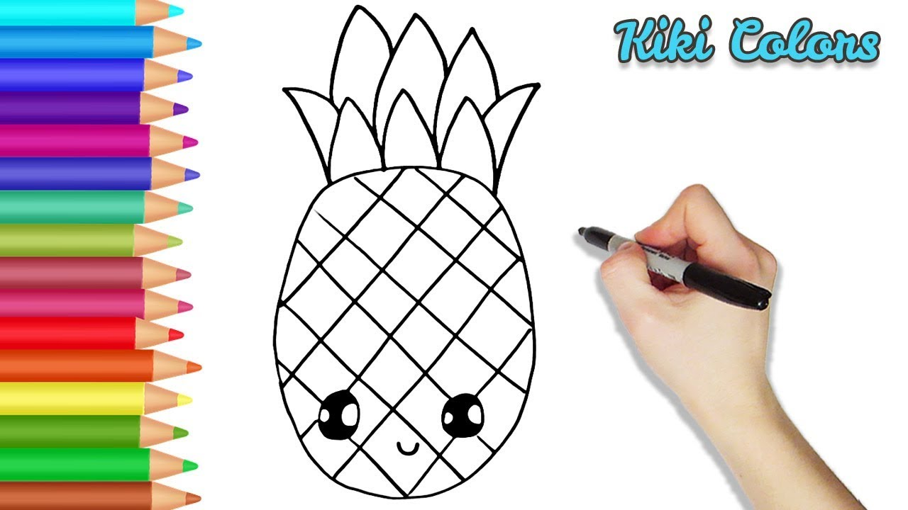 How To Draw Cute Pineapple Part 1 Teach Drawing For Kids And