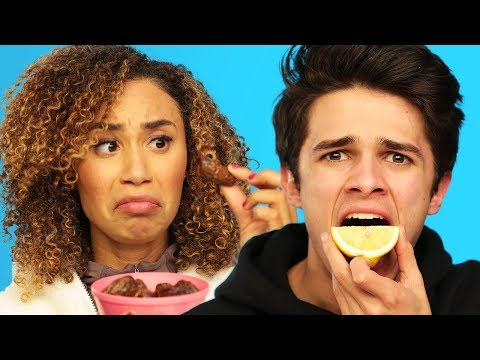 BLINDFOLD FOOD GUESSING ft MyLifeasEva and Brent Rivera  Brent vs Eva