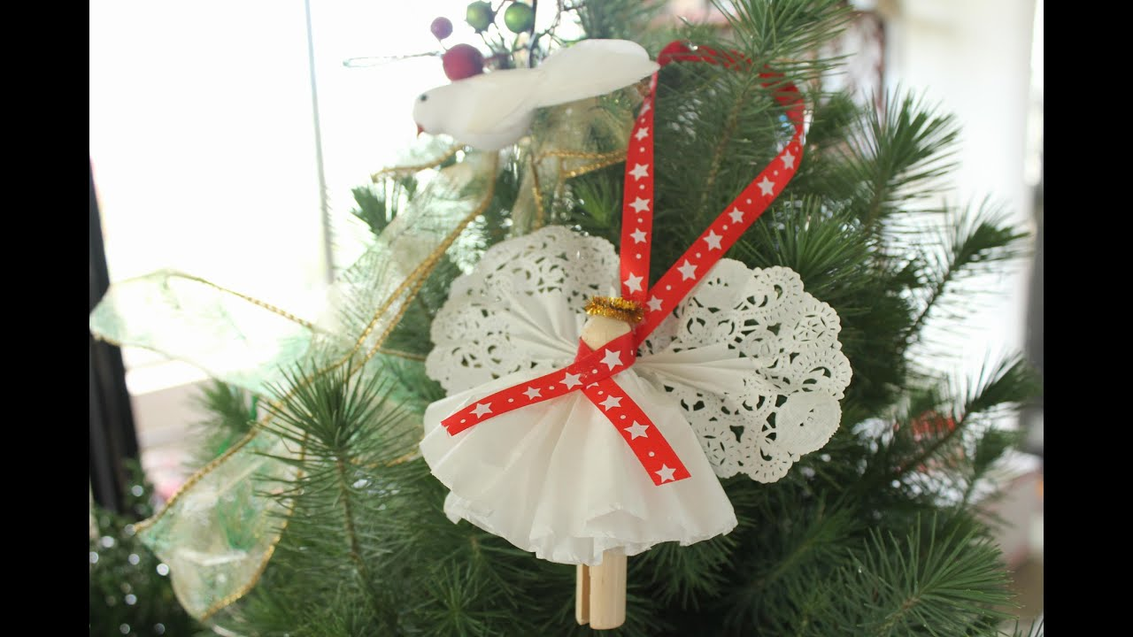 Clothespin angel ornament christmas angel craft youtube for Angel decoration
