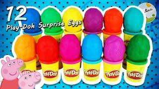 12 play doh surprise eggs peppa pig disney princess minions minnie mouse hello kitty dragons