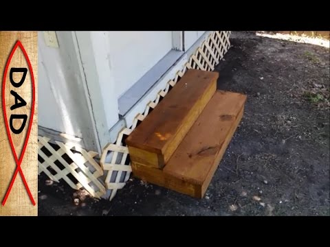 Easy and cheap shed step using two boards