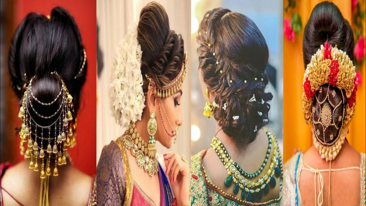 Latest Gajra Hairstyle for Wedding, Hair bun style with Flower, Gajra hairstyle with Saree - YouTube