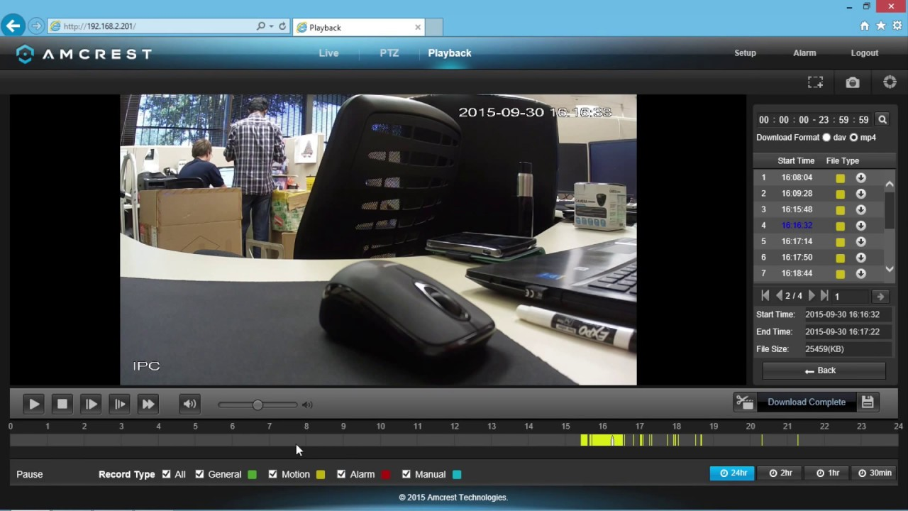 Amcrest IP Cameras - Walk-through of the Playback Timeline (Viewing  Recordings)
