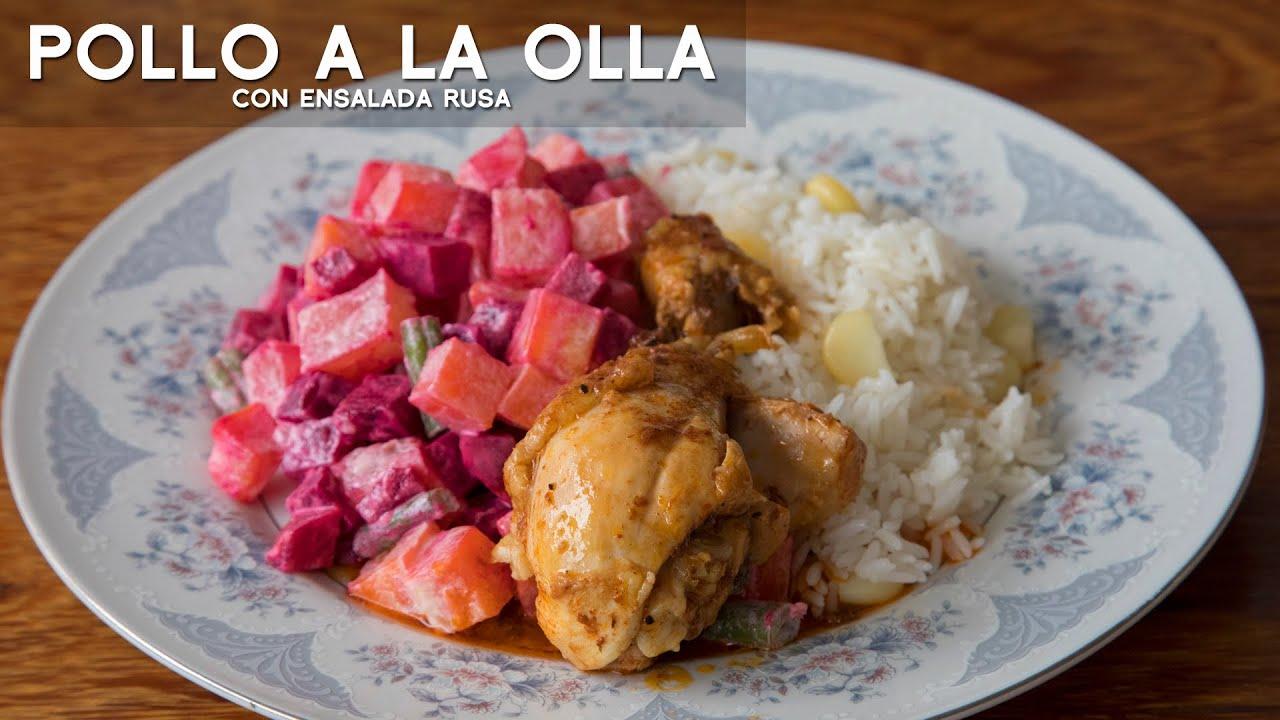 Como Preparar Pollo A La Olla Con Ensalada Rusa Fácil Y Rápido Acomer Pe Cocina Peruana Youtube