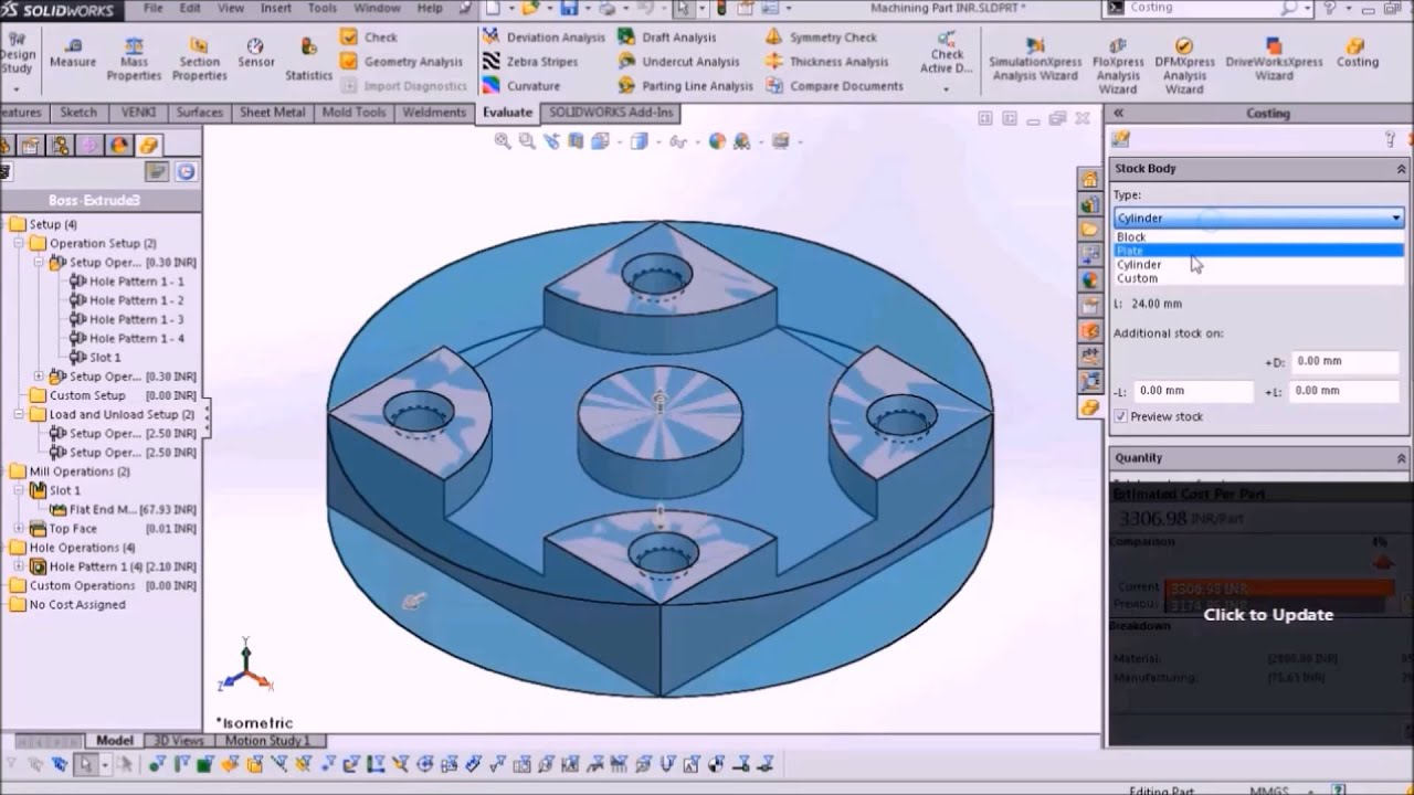 Costing template for Machining SOLIDWORKS