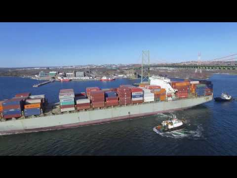 DJI Phantom 3 Video - AGIOS MINAS Under MacKay Bridge - Port of Halifax (Mar 21, 2017)