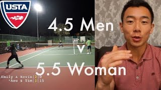 USTA 4.5 Men vs 5.5 Woman Doubles Tennis Highlights   Tim & Friends vs Former NCAA D3 HD 60fps