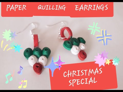CHRISTMAS SPECIAL EARRINGS /HOW TO MAKE EASY DIY PAPER QUILLING EARRINGS