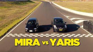 homepage tile video photo for Yaris Hilton vs Daihatsu Mira