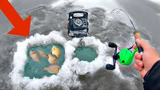 Building a FISH TRAP while Ice Fishing for Dinner!! (SURPRISING)