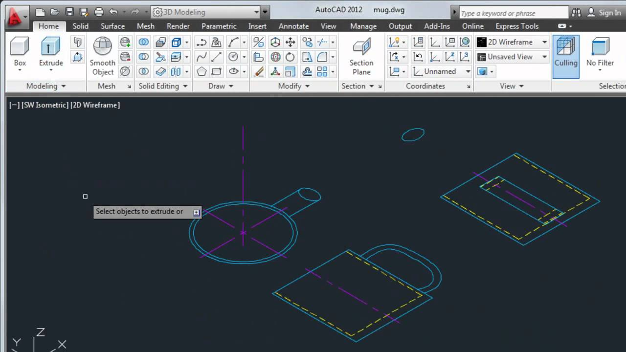 Convert 2d Objects To 3d Autocad 2012 Youtube