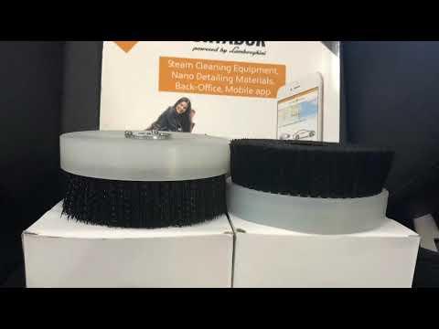 Upholstery shampoo using Fortador OXI and Magic Brush on rotary