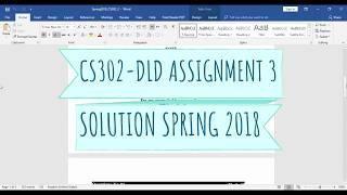 CS302-DLD ASSIGNMENT 3 SOLUTION SPRING 2018 | SUPERSTARWEBTECH