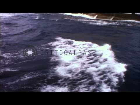 USS Mount Baker approached for supply of ammunition by USS Mansfield during Opera...HD Stock Footage