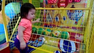Baby Jaylena playing basketball at funfactory