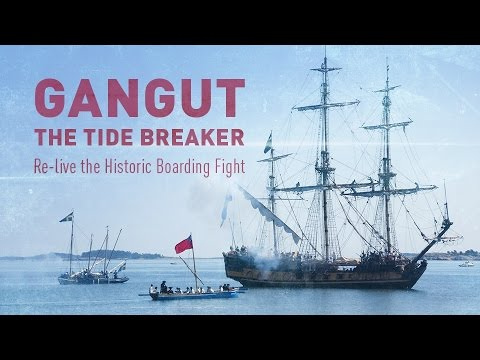 Gangut: The Tide Breaker. Re-enactment of the first naval victory of Peter the Great