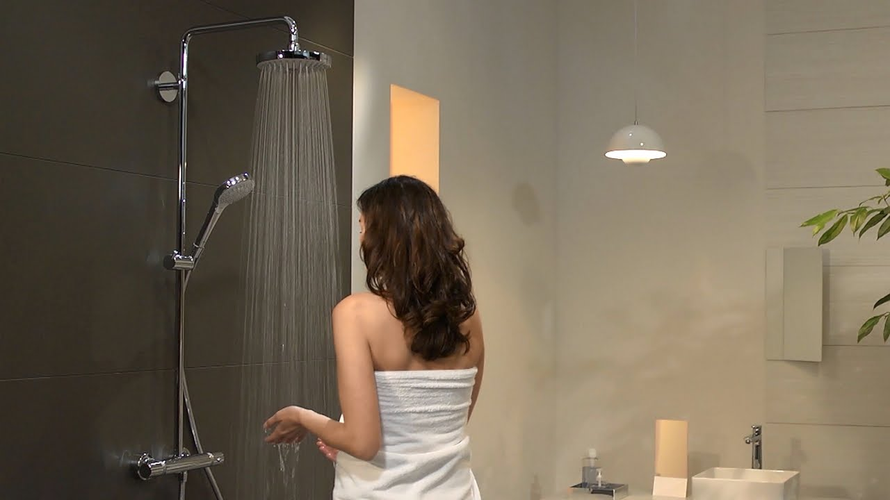 Hansgrohe Croma Select S 180 2jet Showerpipe #27253400   YouTube