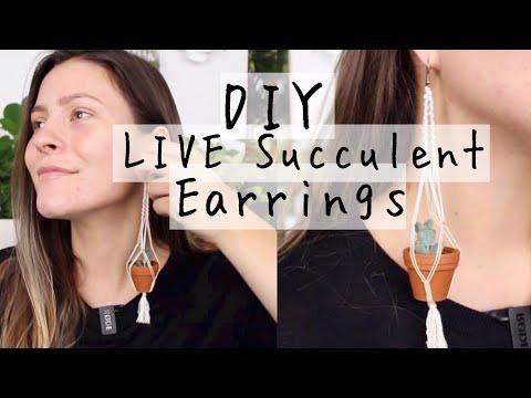 DIY Live Succulent Macrame Earrings! | Macrame Plant Hanging Earrings How To!