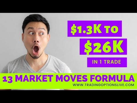 $1,300 to $26,000 TRADING OPTIONS LIVE IN DETAIL USING 13 MARKET MOVES FORMULA
