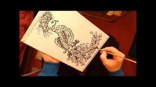 Как рисовать павлина красками.(Как рисовать павлина красками , второй вариант. Материалы : белый картон, синтетическая кисть №4. How to paint..., 2016-03-20T17:40:12.000Z)