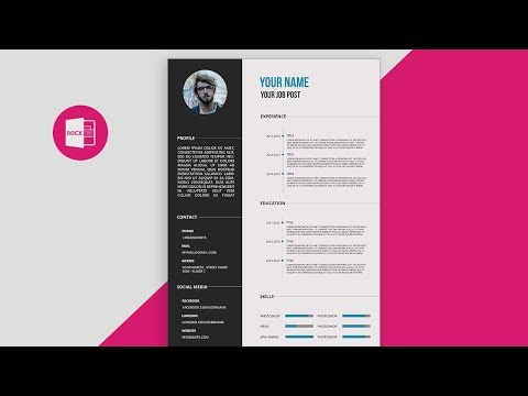 CV/Resume template Design tutorial with Microsoft Wordfree PSD+DOC+PDF