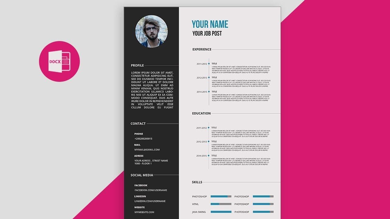cv/resume template design tutorial with microsoft word free psd+doc+