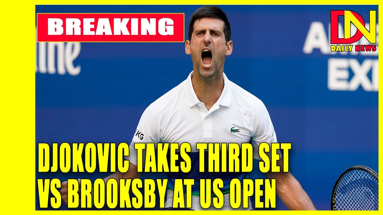The Latest: Brooksby takes 1st set 6-1 against Djokovic