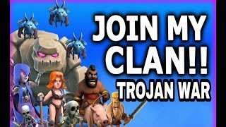 JOIN NOW TROJAN WAR CLAN AND BASE REVIEW