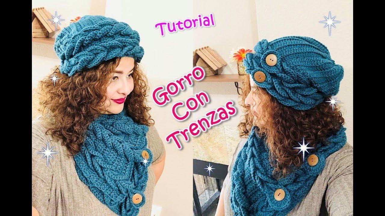 Gorro Caído Tejido con Trenzas a Crochet para Muejer o Niñas 👍😜😍 ENGLISH  SUBTITLES 1ce54b06391